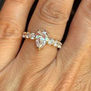 14K Yellow Gold Eternity Engagement Ring size 5